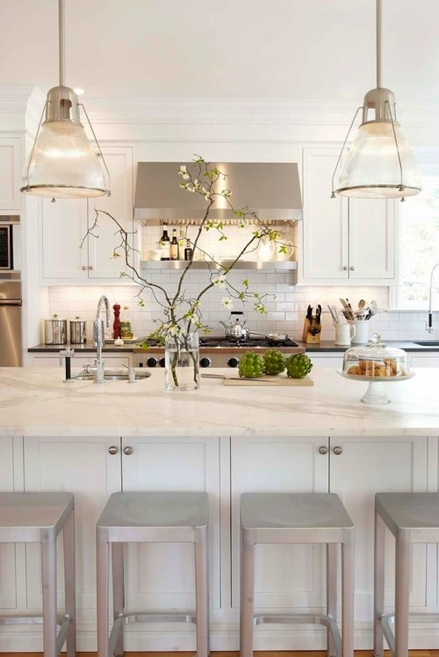 clean kitchen island white