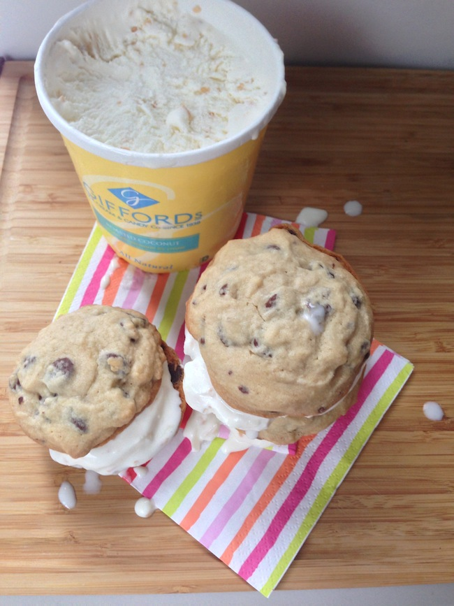 Chocolate Chip Coconut Ice Cream Sandwiches | Cupcakes for Breakfast
