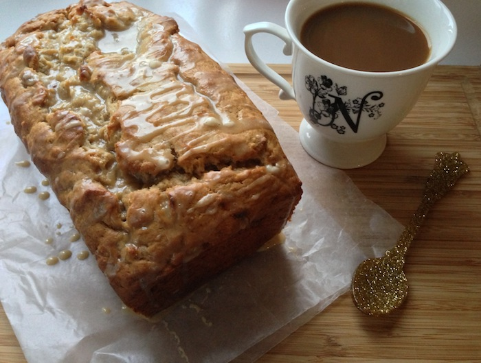 Coffee-Glazed Peanut Butter Banana Bread