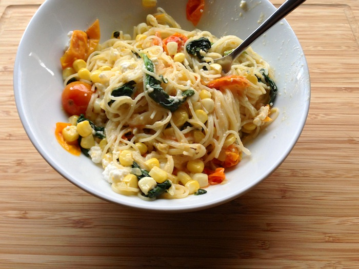 Cupcakes for Breakfast: Pasta with Roasted Tomato, Corn, Spinach and Ricotta
