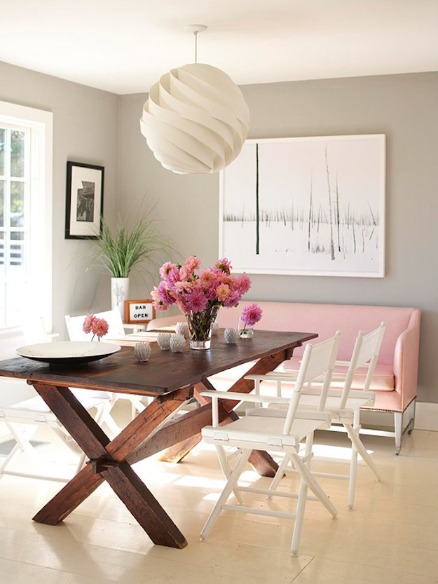 Cupcakes for Breakfast: Blush Pink dining bench
