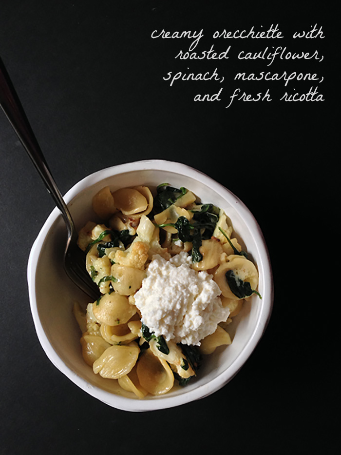 Cupcakes for Breakfast: Sunday Pasta -  Creamy, Cheesy Orecchiette with Roasted Cauliflower and Spinach