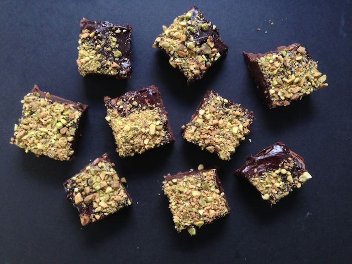 Cupcakes for Breakfast: Chocolate Chunk Brownies with Salted Fudge Frosting and Pistachios