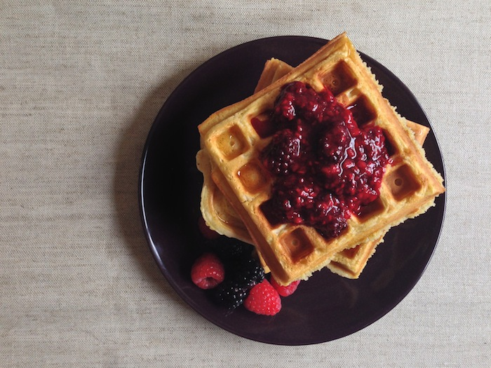 Cupcakes for Breakfast: Cinnamon Brown Butter Waffles with Maple Berries